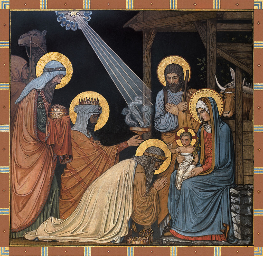 "The Epiphany is depicted in a mural titled ""Adoration of the Magi"" in the Basilica of the Immaculate Conception at Conception Abbey in Conception, Mo. Painted by Benedictine monks in the late 1800s, the artwork is the first appearance of the German Beuronese style in a U.S. church. Christians celebrate the incarnation of the divine word -- the birth of Christ -- Dec. 25. The feast of the Epiphany is Jan. 2. (CNS photo courtesy Conception Abbey) (Nov. 8, 2004)"